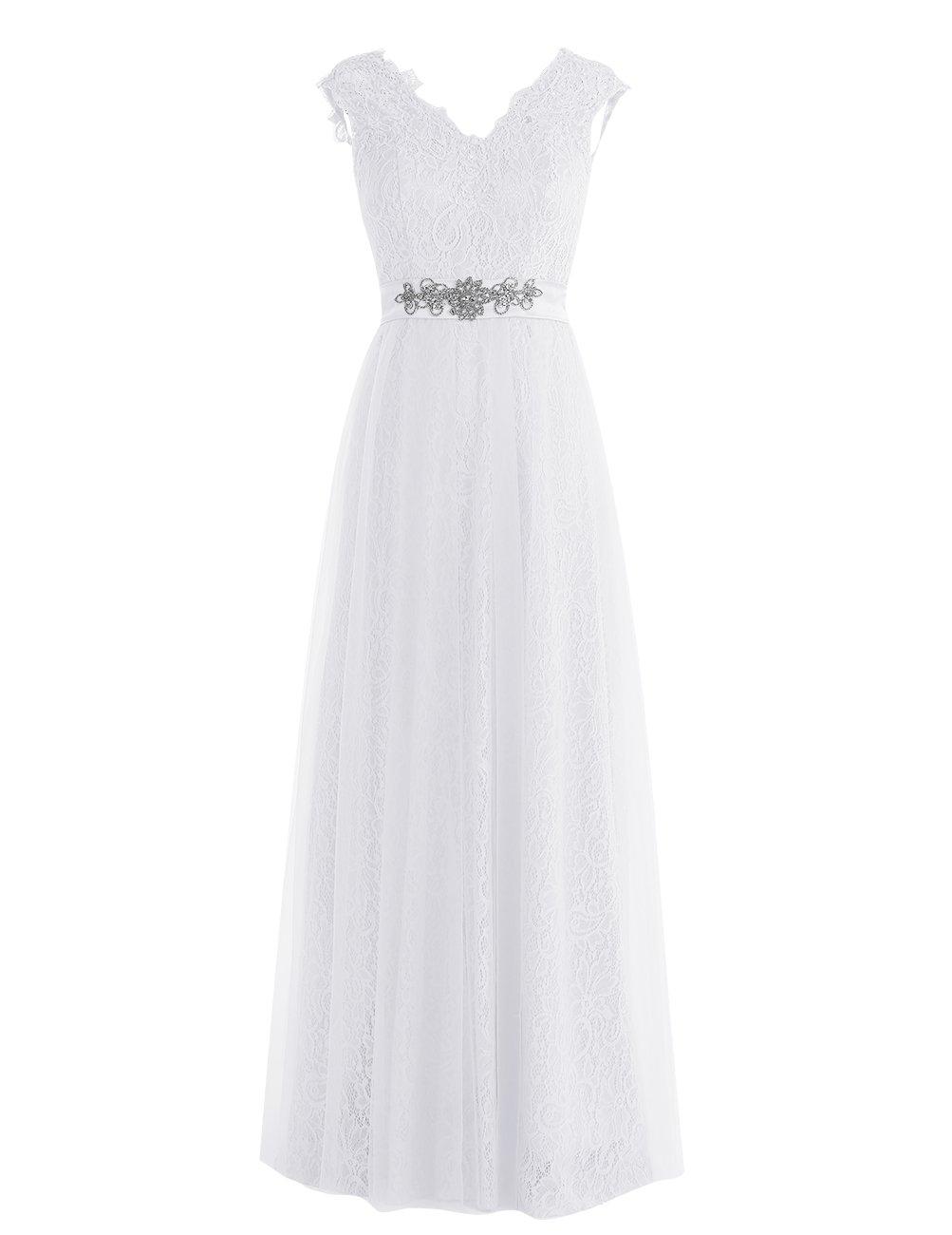 Dresstell レディーズ ロング丈 披露宴ドレス 結婚式ドレス 総レースのお呼ばれ フォーマルドレス キラキラビジュー付き ビスチェタイプ 編み上げの花嫁ワンピース 二次会ドレス ステージドレス B01M0TK7S1 JP19W|ホワイト ホワイト JP19W