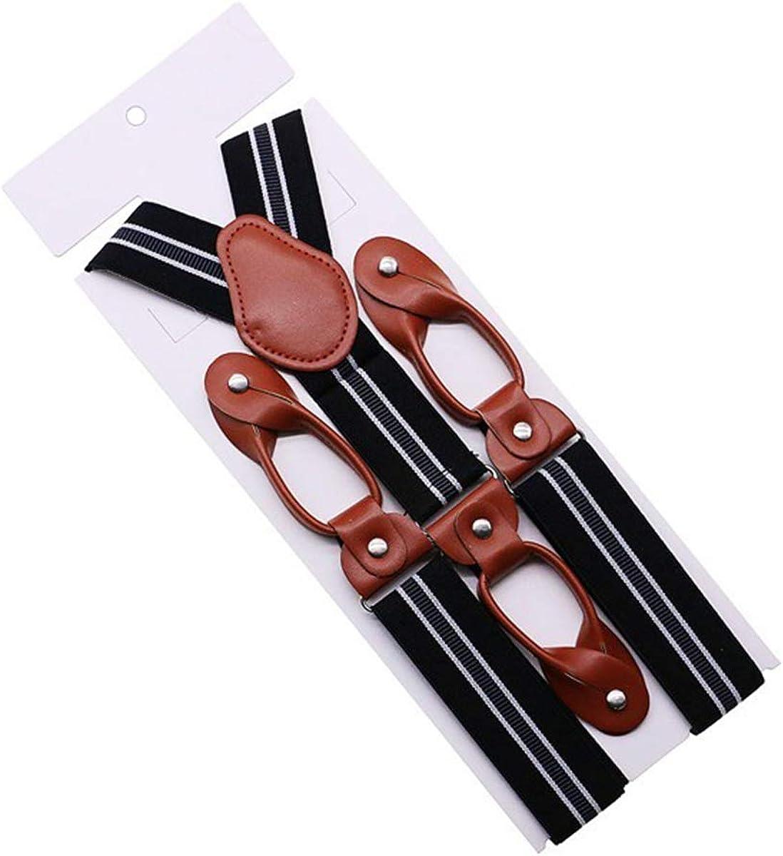 TikTako Largeur 35 mm pour les hommes Brown Suspenders Bouton Entretenu en cuir fin /élastique Tuxedo Y Retour Hommes bretelles Braces Pant papa cadeau