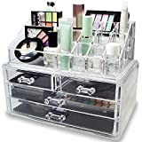 Flipco Clear Cosmetic Storage Organizer - Easily Organize Your Cosmetics, Jewelry and Hair Accessories. Looks Elegant Sitting on Your Vanity, Bathroom Counter or Dresser. Clear Design for Easy Visibility.