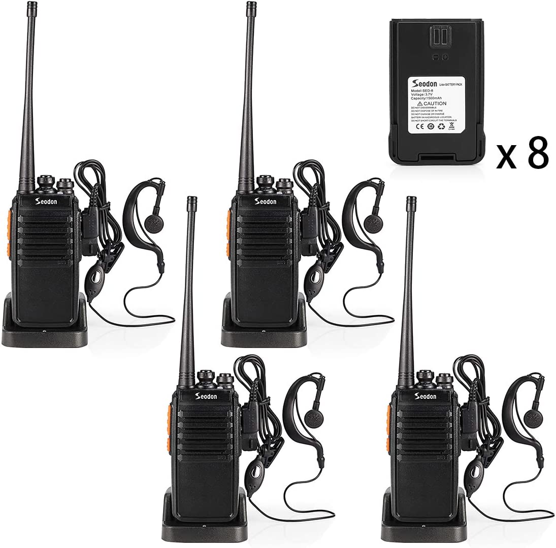 Seodon Walkie Talkies for Adult Long Range with 8 Batteries Rechargeable Two 2 Way Radios Walkie Talkie 4 Pack FRS GMRS UHF 400-470Mhz Walky Talky with Headsets Earpieces