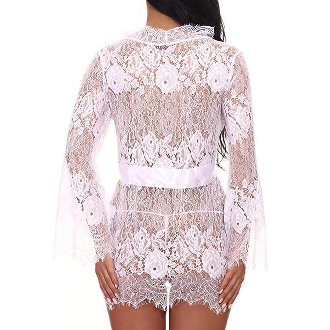 Kimono Batas Mujer, ❤ Modaworld Vestido Sexy para Mujer Babydoll Encaje lencería cinturón + G-String Albornoz Camisón Lencería de Encaje Bata de baño ...