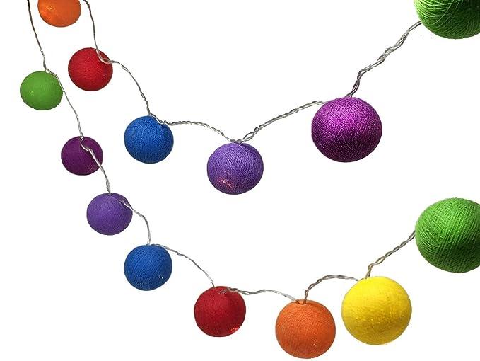 sports shoes 51b04 d36e7 BLAZE ON® Ambient Ball Fairy Lights - 20 LED - Hand-Spun Haute Couture  Cotton Balls - Rainbow - UK Plug - Safe Indoor Low Voltage Decorative  Lights DC ...
