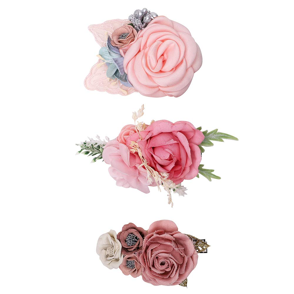 20a21ba76c5ea Flower Hair Clip Set-BEAMIO Floral Hair Bow Boutique Alligator Clip For  Girls Babies Toddlers Teens...