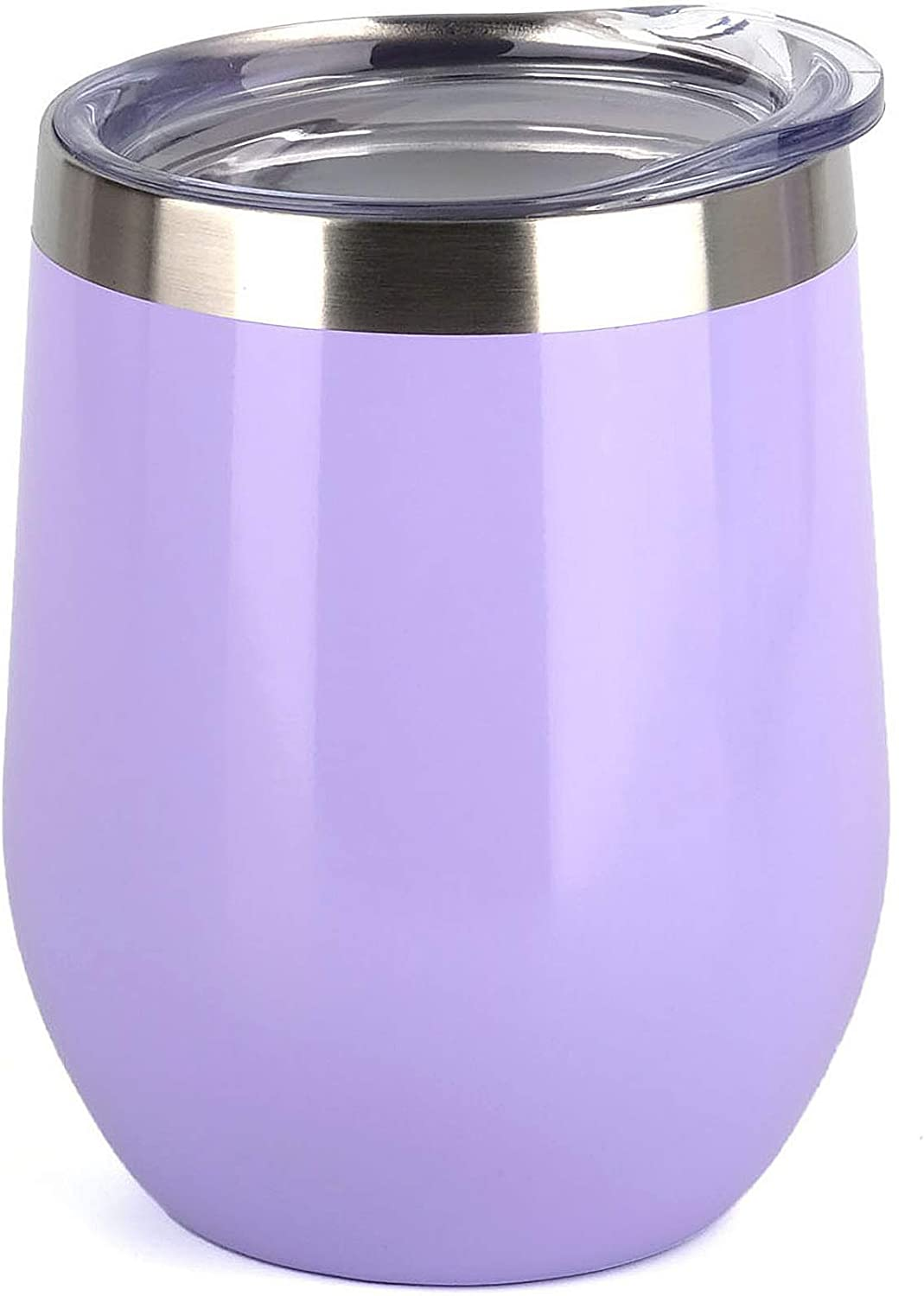 SUNWILL Insulated Wine Tumbler with Lid (Lavender), Stemless Stainless Steel Insulated Wine Glass 12oz, Double Wall Durable Coffee Mug, for Champaign, Cocktail, Beer, Office use