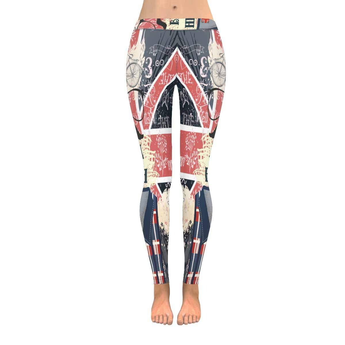 InterestPrint Hipster Bike Glasses and Mustache on British Flag Women's Capri Leggings Stretchy Skinny Yoga Pants XS