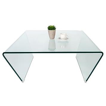 Design Trapez Ghost Couchtisch 80x80cm Gehärtetes Glas Beistelltisch