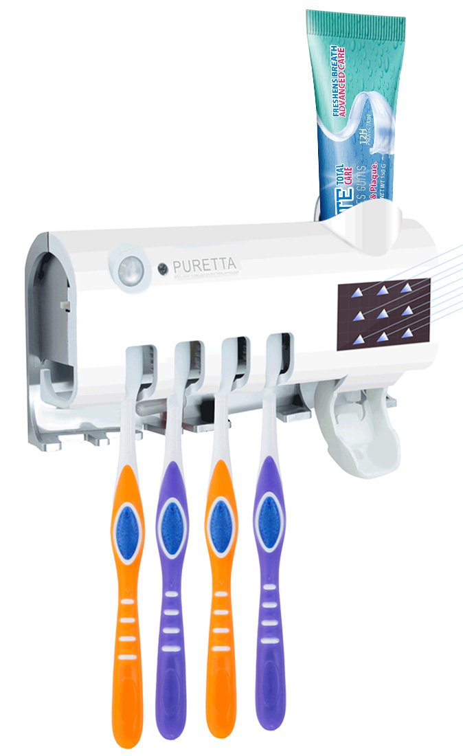 UV Toothbrush Sterilizer Sanitizer Toothbrush Holder Toothpaste Dispenser Wall Mounted Rechargeable Solar Power Toothbrush Holder with 3M Adhesive Kill Bacteria Germ for Women Baby in Bathroom(White)
