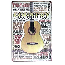 SUMIK Country Music Guitar Metal Tin Sign, Vintage Style Poster Plaque Wall Ornament Bar & Coffee & Home Decor, 20 X 30 Cm