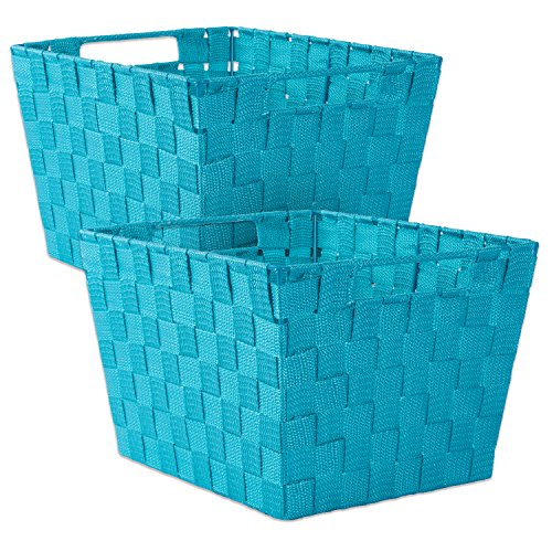 DII Durable Trapezoid Woven Nylon Storage Bin or Basket for Organizing Your Home, Office, or Closets (Basket - 12x10x8) Teal - Set of 2