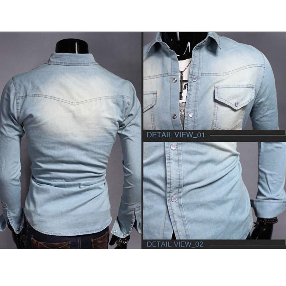 Reeseiy Camicia di Cotone da Uomo Casual Chic A Camicia Camicia Maniche Lunghe Uomo Slim Fit Vintage Camicia di Jeans Nero Azzurro Blu Scuro XS XXXL