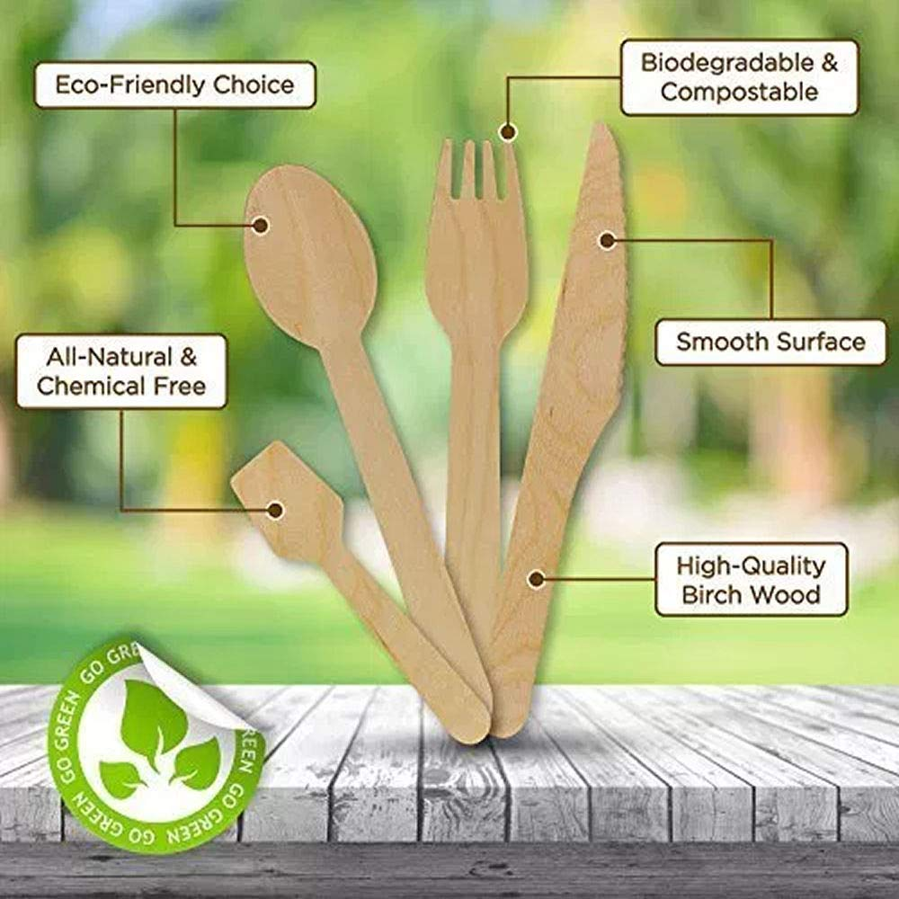 BarBits Wooden Birchwood Spoons Pack of 100 Dessert Spoons Natural Material Disposable Cutlery Eco Friendly /& Biodegradable