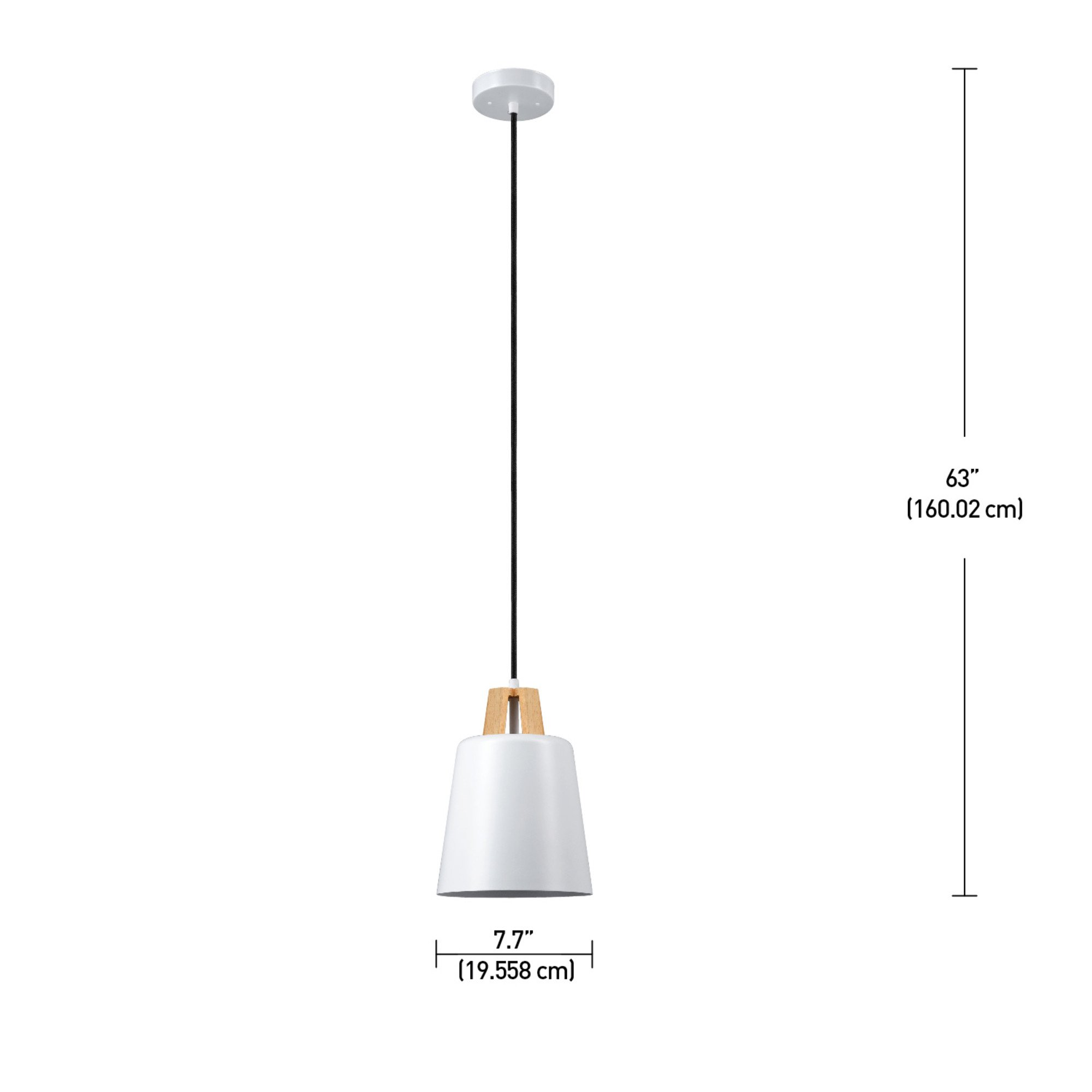 Globe Electric Jeor 1-Light Pendant, White Finish, Faux Wood Accent, 65431 by Globe Electric (Image #4)