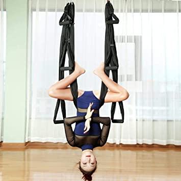 1ee5a2320c Gold Happy 2.51.5m Aerial Yoga Hammock 6 Handles Strap Pilates Home Gym  Hanging Belt Swing Trapeze Anti-Gravity Aerial Traction Device: Amazon.ca:  Home & ...