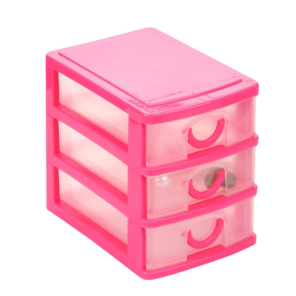 Samoii Durable Plastic Mini Desktop 2-5 Shelves Drawer Sundries Case Small Objects Jewelry Storage Organzier (4 Size)