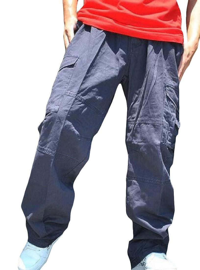 Sayhi Men Cargo Big and Tall Multi Pockets Trousers Straight Leg Pants