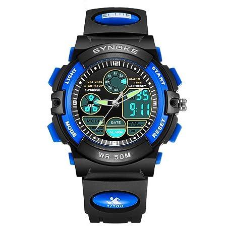 Watches Multi-Function 50M Impermeable Reloj LED Digital Doble Acción, Blue: Amazon.es: Jardín