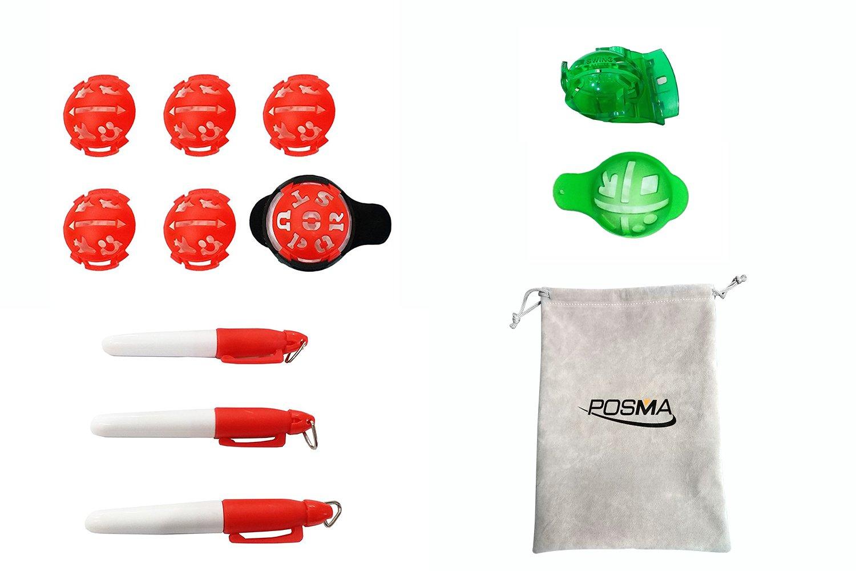 posma bl010axゴルフボールライナーマーカー3セット値パックwith 3マーカーペンとAフランネルギフトバッグ – ゴルフ図面線形ツールGolf Putting Alignment Tool複数のマーキング   B0792VTN2Z