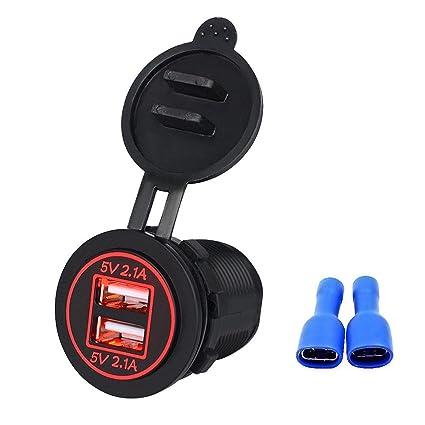 Amazon.com: Linkstyle 12V 4.2A Dual USB Charger Socket Negro ...
