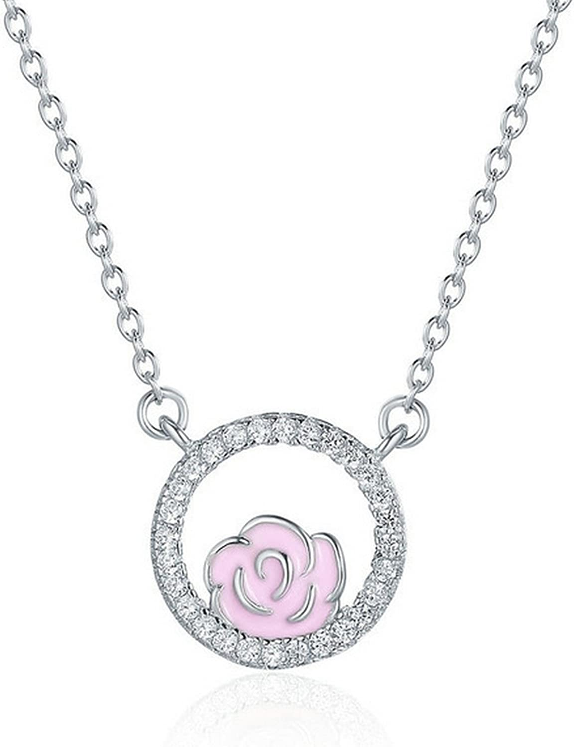 CS-DB Jewelry Silver Rose Circle Chain Charm Pendants Necklaces