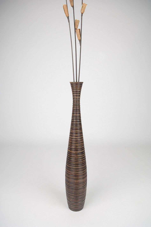 Thai Handmade Tall Floor Vase Height: 30, Wood, Brown. by WADSUWAN SHOP