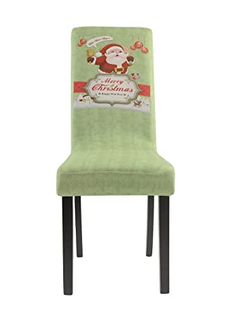 Homluxe Merry Christmas Spandex Stretch Dining Room Chair Covers 2 Green Holiday