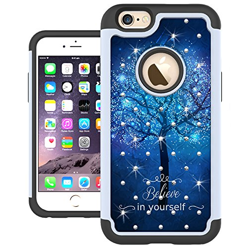 iPhone 6s Case, iPhone 6 Case, UrSpeedtekLive [Shock Absorption] Dual Layer Hybrid Defender Protection Rhinestone Crystal Bling Cover Case for iPhone 6 / 6s 4.7 inch - Galaxy Tree (Cases Out Iphone Bling 6)