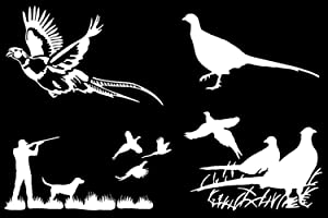 Slaced Pheasant Hunting Decals 4 Pack (White, Large)