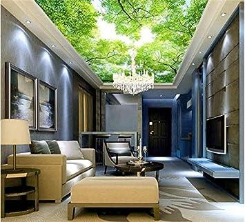 Sykdybz 3D Decke Tapeten Custom Photo Wandbild Tapeten Aufkleber Für  Wohnzimmer Hd Sky Green Tree