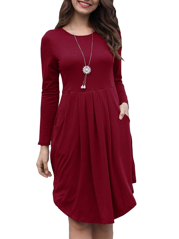 Wine Red Kathemoi Womens Long Sleeve Tunic Dress Pleated Swing Casual Midi Dresses Pockets