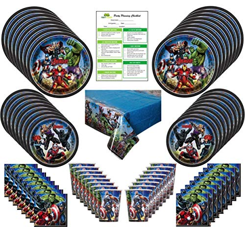 Marvel Avengers Party Supplies Pack 16 Guests: Big and Small Plates, Cups, Napkins, Table Cover