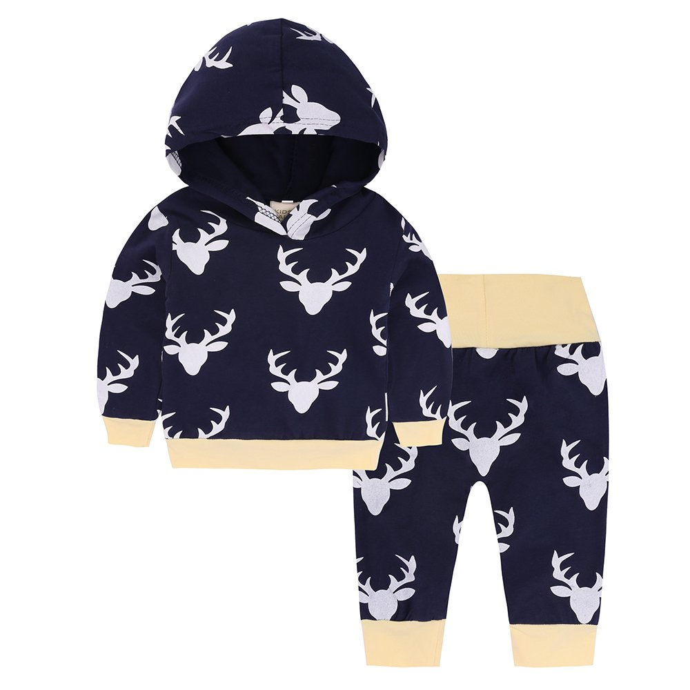 Baby Girls Floral Striped Deer Hoodie Top + Pants Leggings 2 Piece Outfits Set Fuzhou Shang Ku Trade Co. Ltd.
