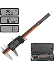 """Allnice Digital Caliper 0-6"""" Vernier Caliper Digital Electronic Gauge Micrometer Measuring Tool with Large LCD Screen and Stainless Steel Body, Millimeter/Inch/Fraction Conversion"""