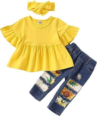 puseky Camisa con Volantes de Girasol de Niña Pequeña de 3 Piezas para Niños + Pantalones de Jean Rasgados + Conjunto de Conjuntos de Diadema