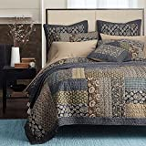 Tache Home Fashion Cotton Royal Chambers Patchwork Floral Quilt Set, Queen, Navy Blue
