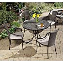 Home Styles 5601-3080 Stone Harbor 5-Piece Outdoor Dining Set, Slate Finish