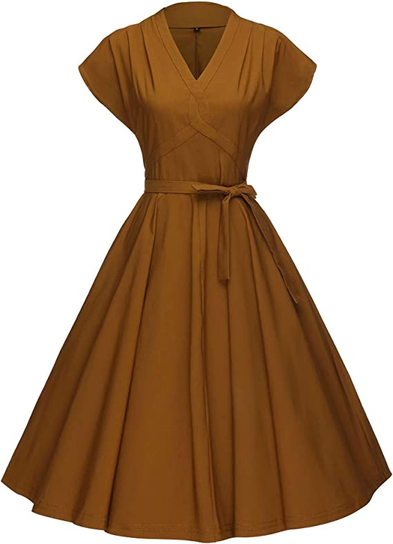 1950s Style Clothing & Fashion GownTown Womens 1950s Vintage Rockabilly Swing Stretchy Dress $32.98 AT vintagedancer.com