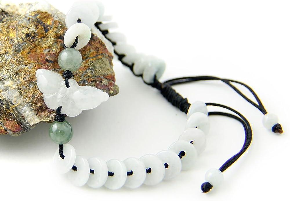 Agathe Creation JBA16016 Pulsera de jade tallado, diseño de mariposa Piedras de jade naturales, categoría A. Pulsera de la felicidad. Tamaño regulable. Fabricada a mano