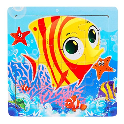Witspace Jigsaw Toys, Kids Wooden Puzzles Children Education and Learning Toys-16 Piece for 1-3 Years Baby (Gold Fish) (Wooden Jigsaw Big Fish)