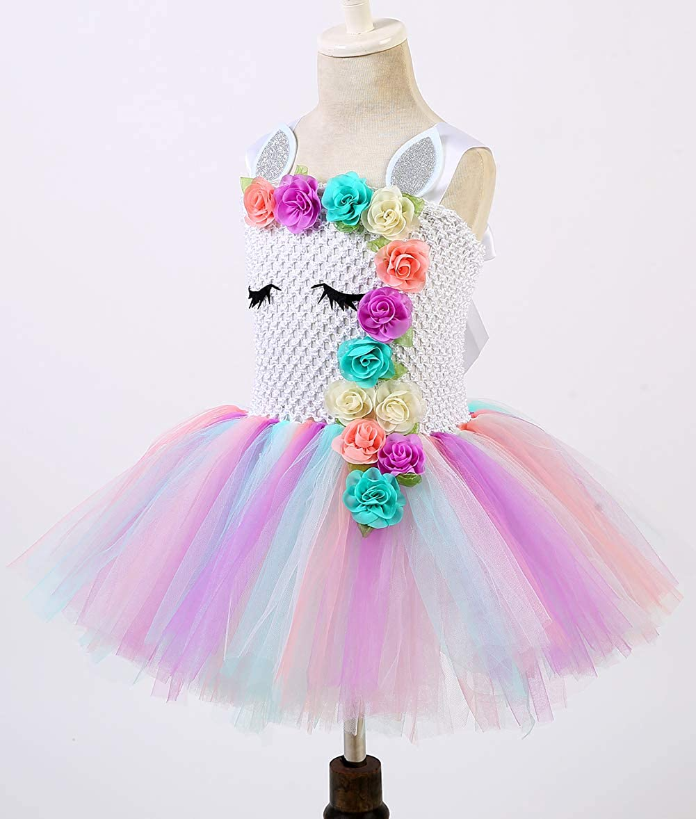 Tutu Dreams Unicorn Costume for Girls 1-12Y with Headband 5 Designs Birthday Party Gifts/…