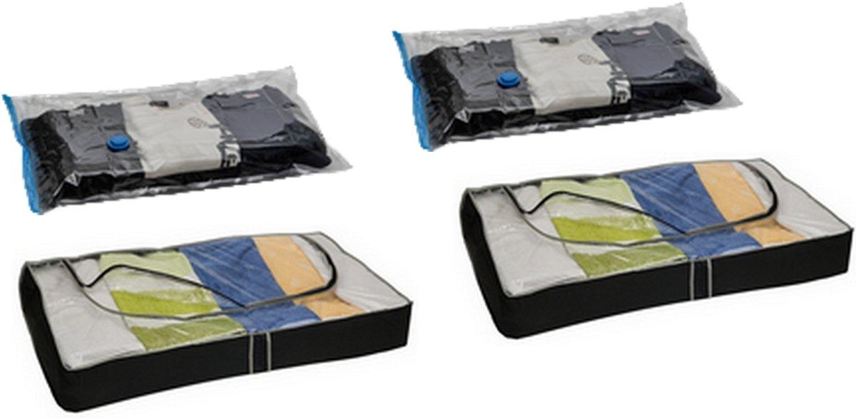 Aufbewahrung Kleidung 4er set kleider aufbewahrungssystem 2 unterbettkommoden 2 vakuum