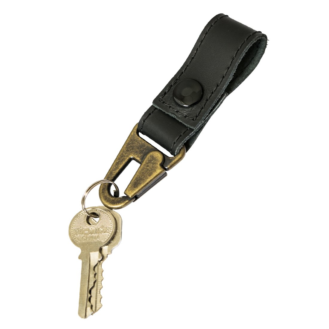 Rustic Leather Key Ring Holder Handmade by Hide & Drink :: Charcoal Black