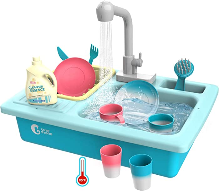 CUTE STONE Color Changing Kitchen Sink Toys, Children Heat Sensitive Electric Dishwasher Playing Toy with Running Water, Automatic Water Cycle System Play House Pretend Role Play Toys for Boys Girls