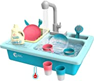 CUTE STONE Color Changing Kitchen Sink Toys, Children Heat Sensitive Electric Dishwasher Playing Toy with Running Water, Auto