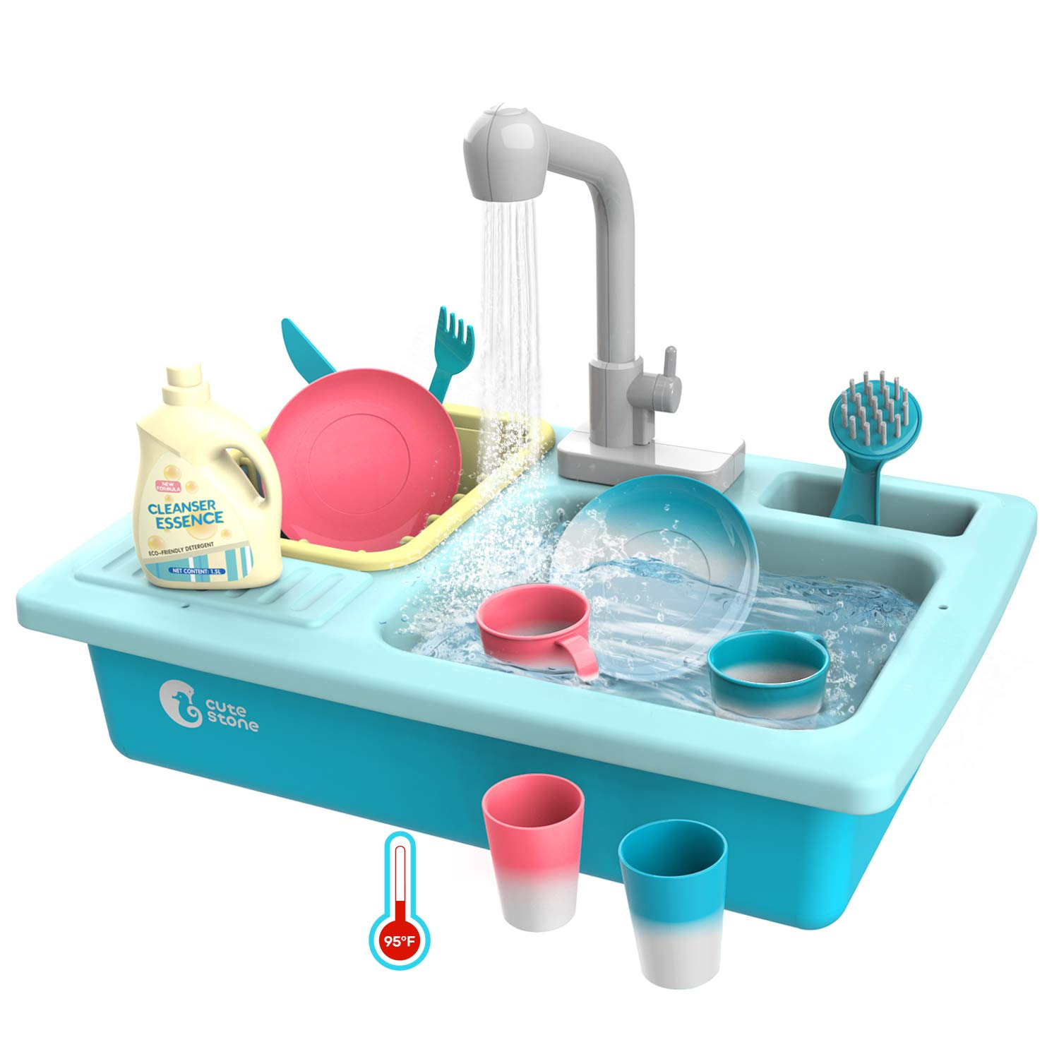 CUTE STONE Color Changing Kitchen Sink Toys, Children Heat Sensitive  Electric Dishwasher Playing Toy with Running Water, Automatic Water Cycle  System ...