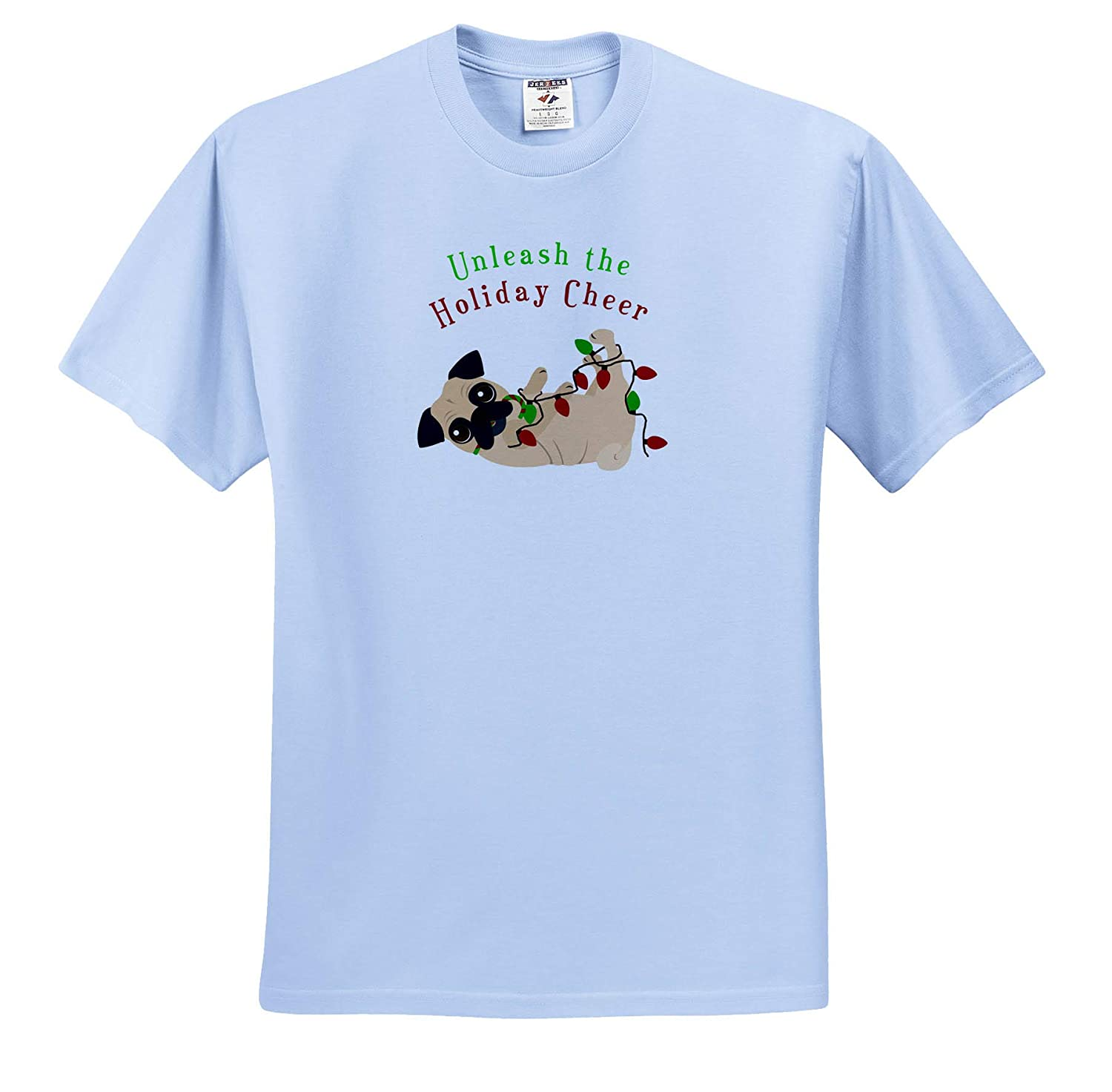 Cute Pug 3dRose Janna Salak Designs Christmas Adult T-Shirt XL Unleash The Holiday Cheer ts/_310739