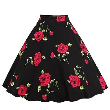 para Mujer Vintage Floral Swing Full Circle Casual Falda Corto Retro Vestidos Negro Flor roja XL