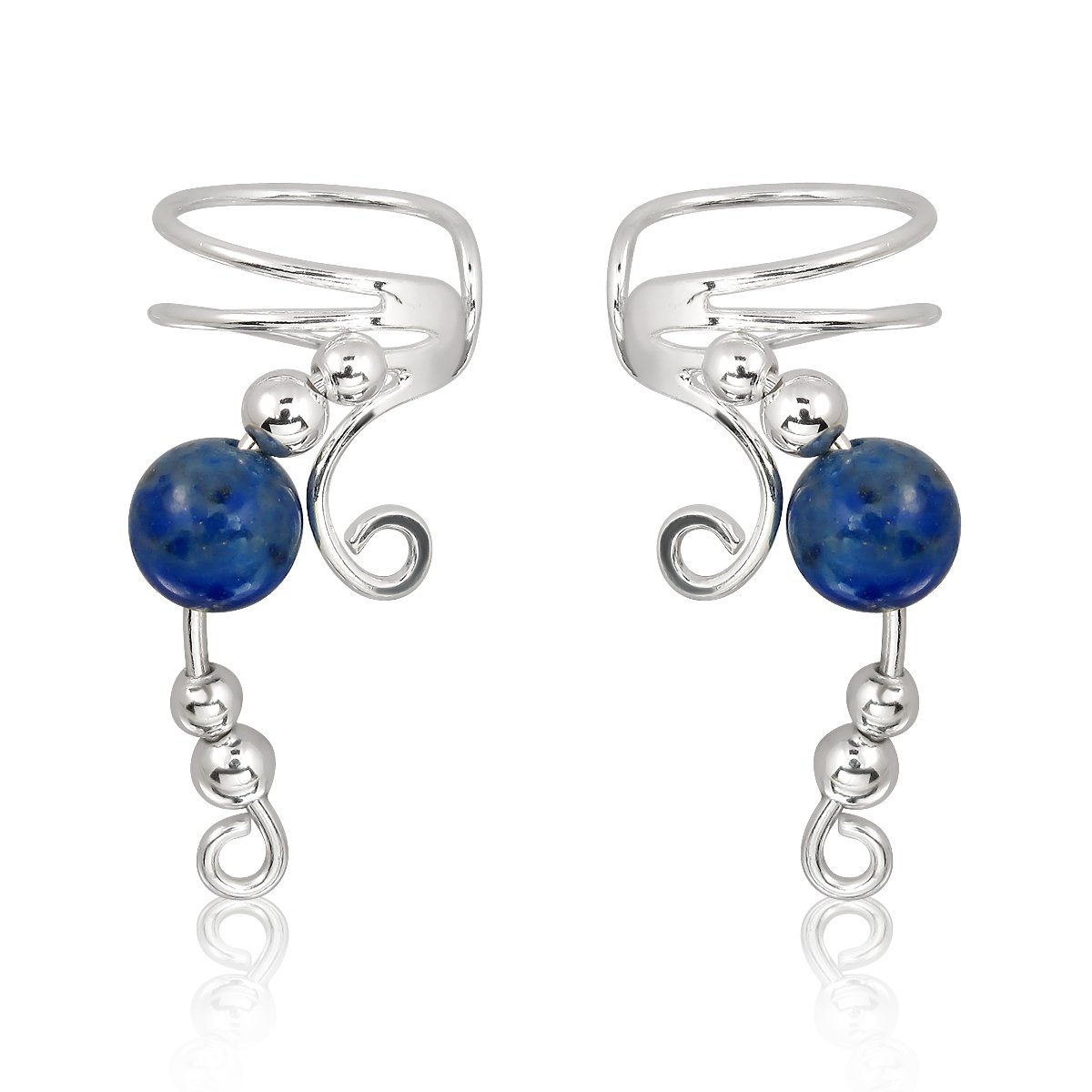 WithLoveSilver 925 Sterling Silver Wire Ear Cuff with Simulated Bead Earrings