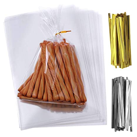 300 Bolsas de Celofán, SWZY Transparentes Bolsas Clear Treat Bags OPP Bolsas Celofán Lazos de 400 12,7 x 17,8cm, para Regalo Bolsa, Bolsa de Dulces, ...