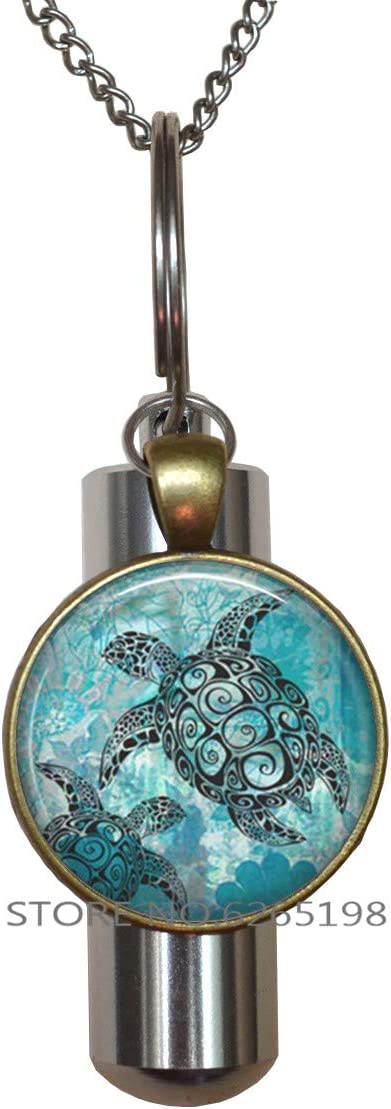 Turtle Cremation Urn Keychain Or Necklace Ocean Pet Urn Sea Human Ashes Memorial Funerals