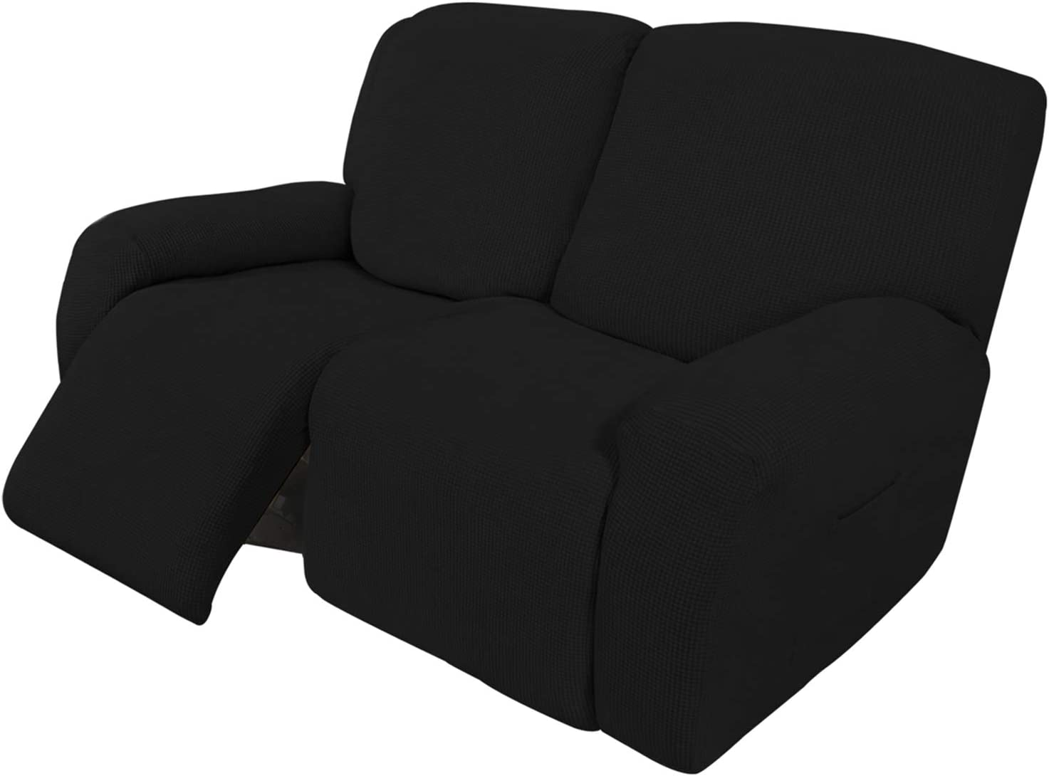Easy-Going 6 Pieces Recliner Loveseat Stretch Sofa Slipcover Sofa Cover Furniture Protector Couch Soft with Elastic Bottom Kids, Spandex Jacquard Fabric Small Checks Black